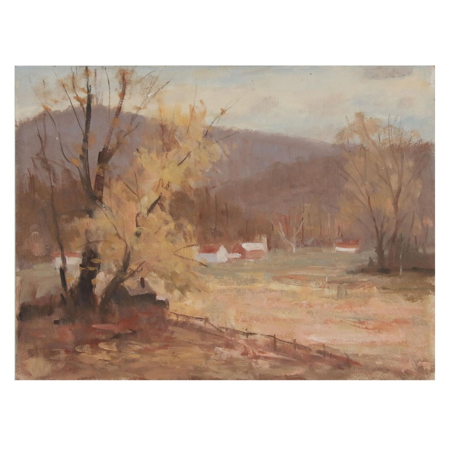 Harry Barton Farm Landscape Oil Painting, Mid 20th Century