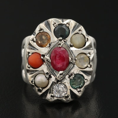 Sterling Silver Ruby, Sapphire, Cubic Zirconia and Pearl Ring