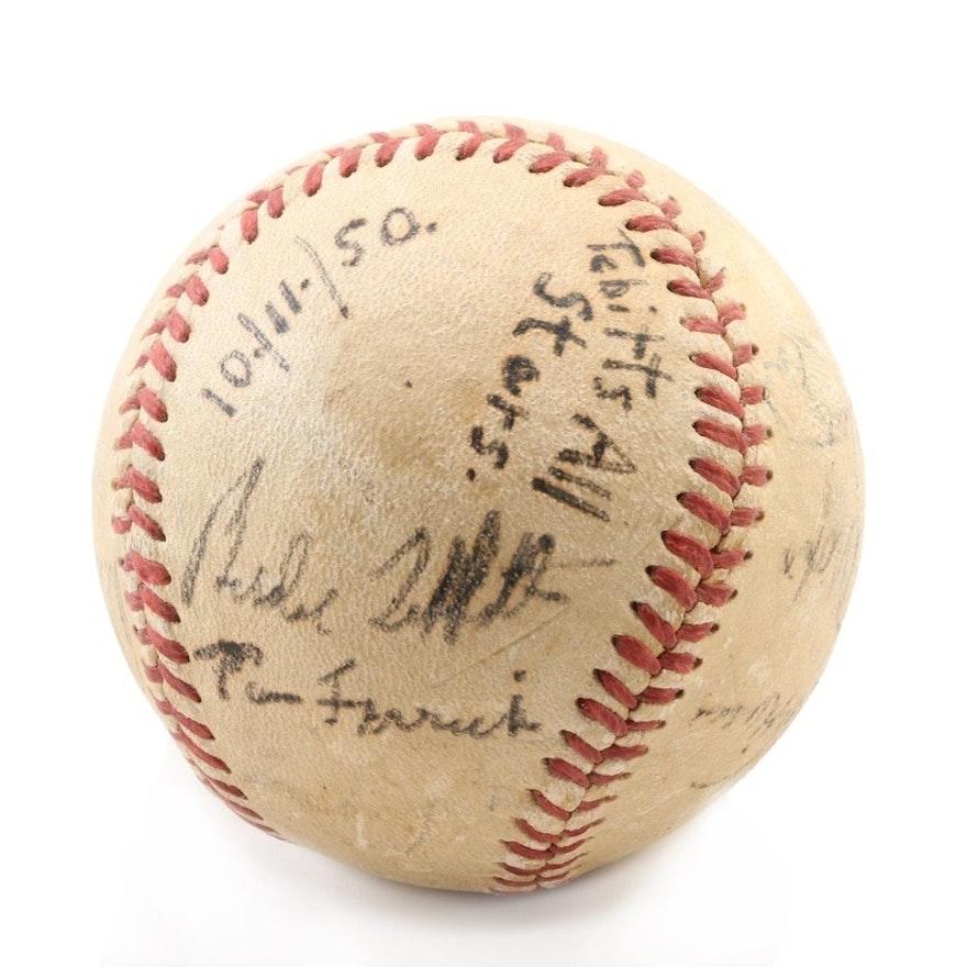 1950 American League Players Signed Baseball