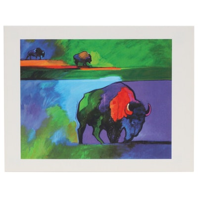 "John Nieto Serigraph ""Buffalo Rendez-Vous"", 1996"