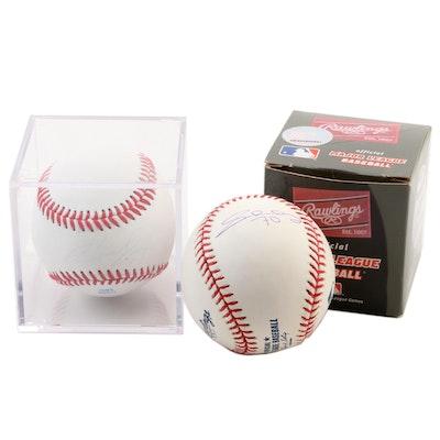 Adam Duval and Jumbo Diaz/Ivan De Jesus Jr. Rawlings Signed Baseballs
