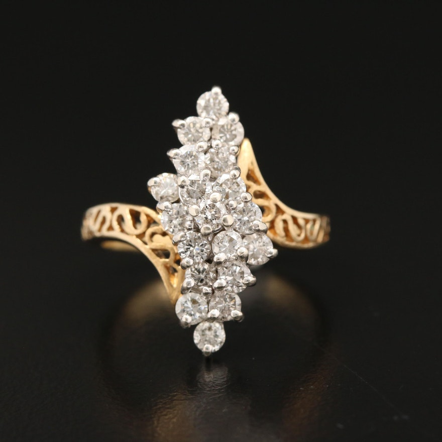 14K 1.00 CTW Diamond Waterfall Bypass Ring with Filigree Shoulders