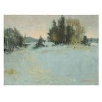Harry Barton Winter Landscape Oil Painting, Mid 20th Century