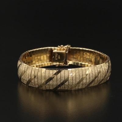14K Omega Link Bracelet with Diagonal Stripes