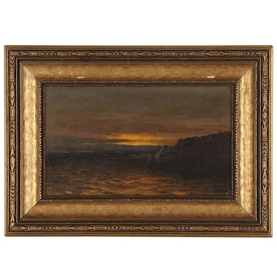 Edward Hill Nocturne Coastal Landscape Oil Painting