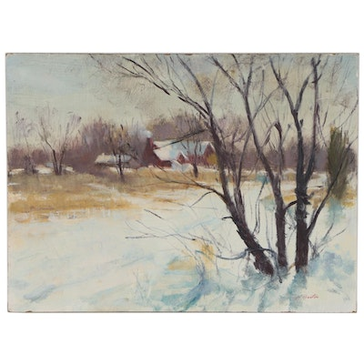 Harry Barton Winter Landscape Oil Painting, Mid 20th Century