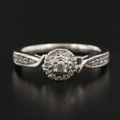 Palladium Diamond Halo Ring with Peek-A-Boo Gallery