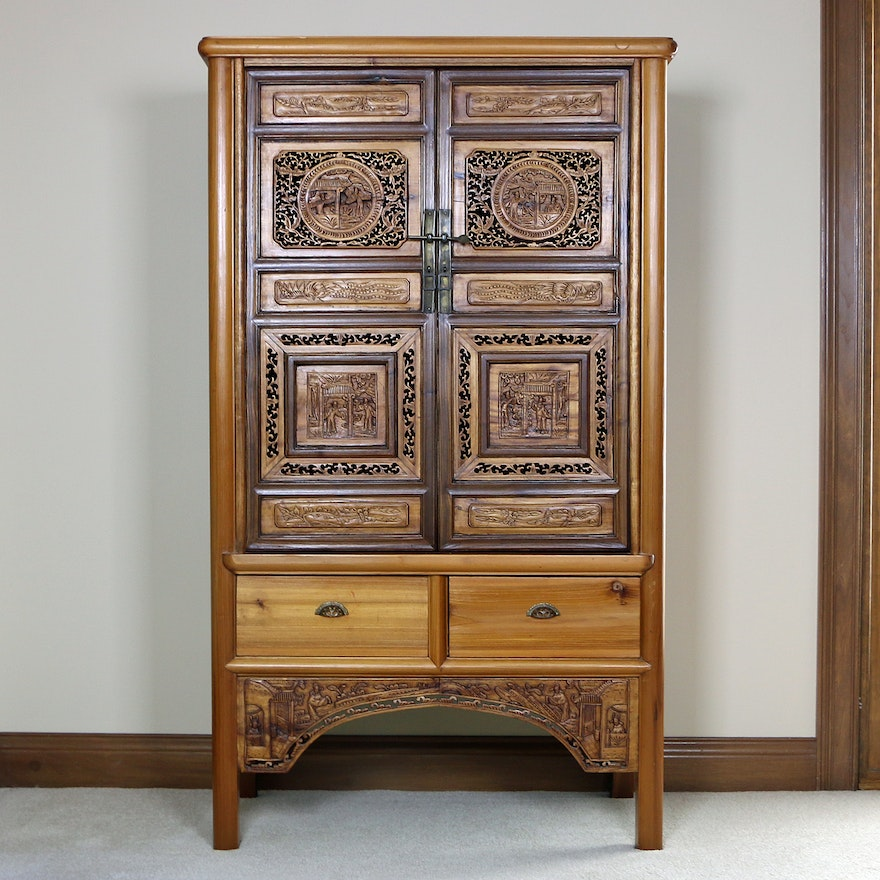 Ornately Carved Chinese Pine and Elm Cabinet