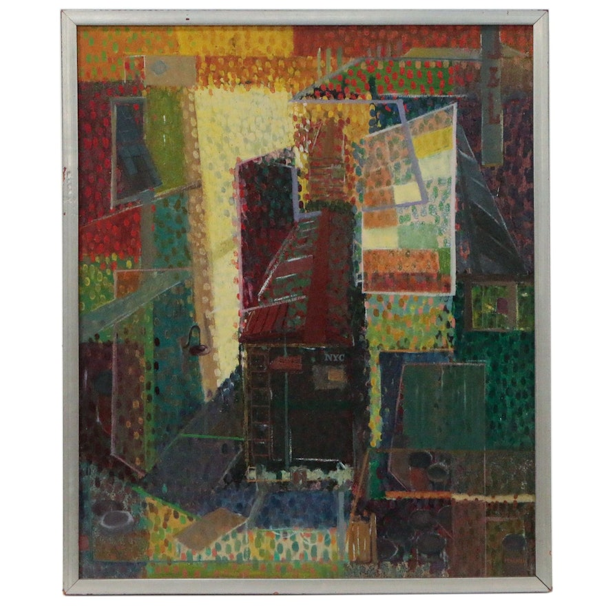 "Bennard Perlman Abstract Oil Painting ""Pointillistic Cityscape"""