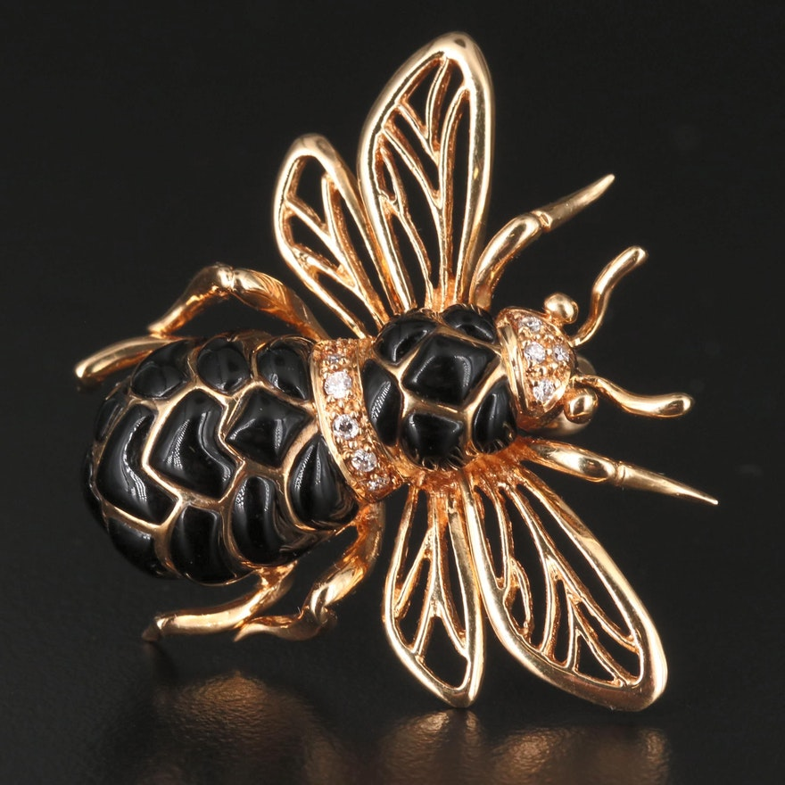 18K Diamond and Black Onyx Bee Brooch