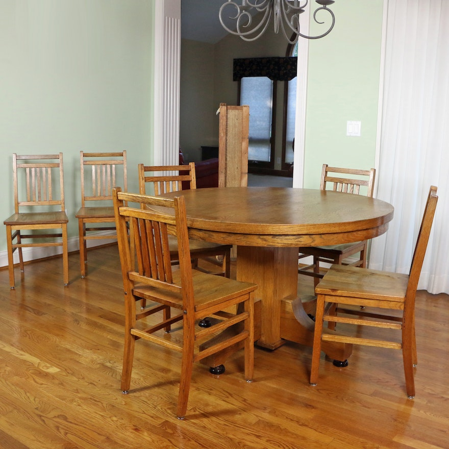 Spencer Table Company Oak Dining Table and Chairs, Mid-20th Century