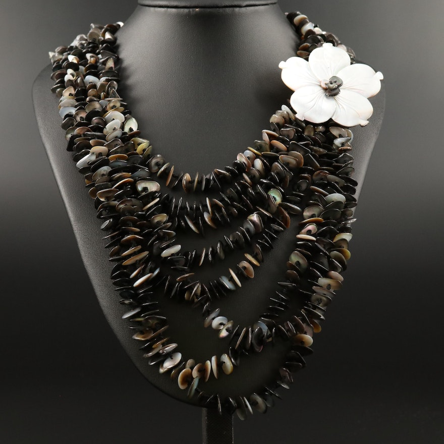 Mother of Pearl Floral and Beaded Multi-Strand Necklace