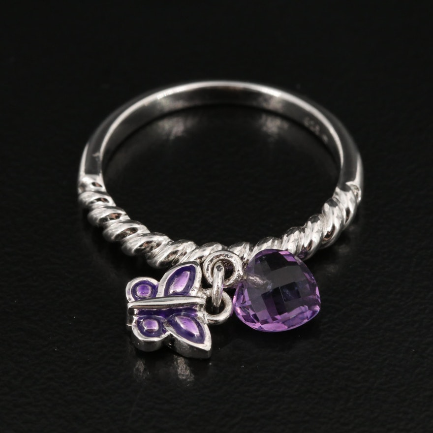 Sterling Amethyst Twist Motif Ring with Heart and Butterfly Dangles