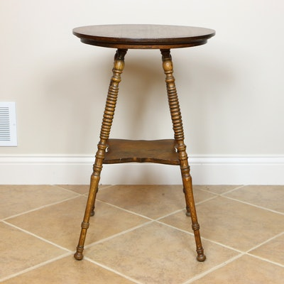 Victorian Oak Side Table with Spindle Legs