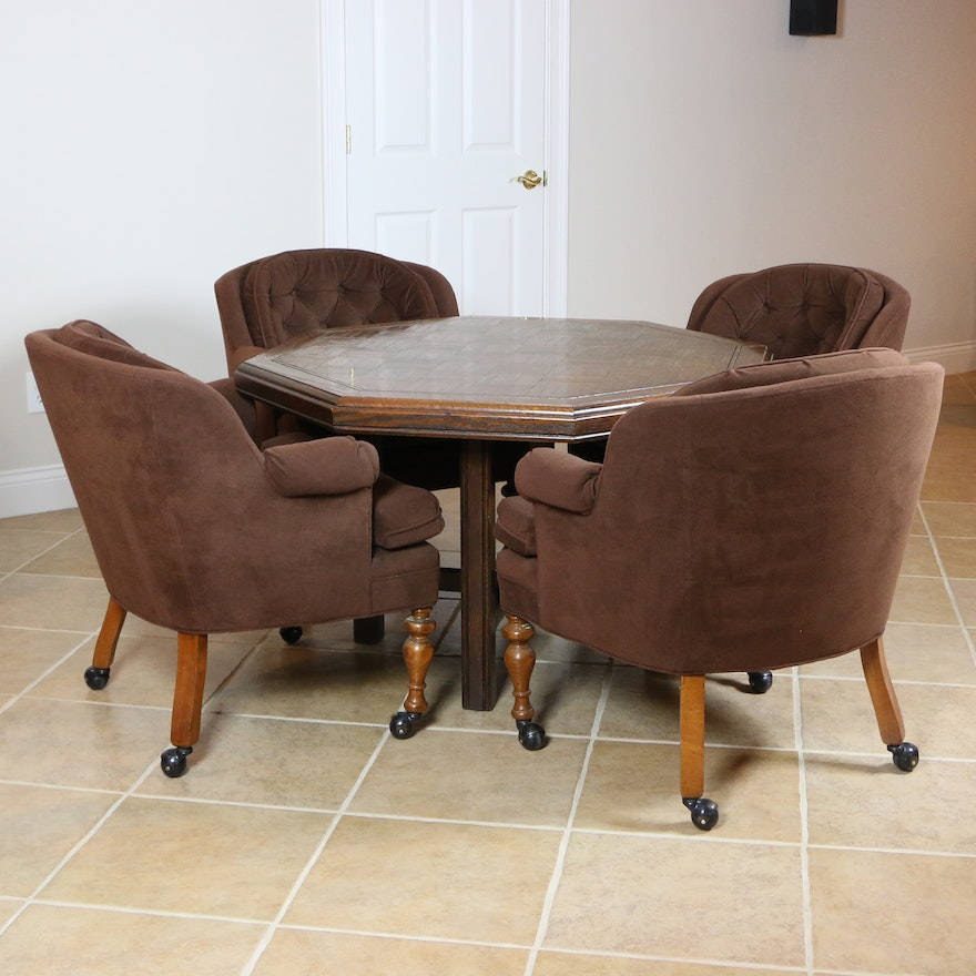 Games Table with Four Tufted Rolling Armchairs, Mid to Late 20th Century