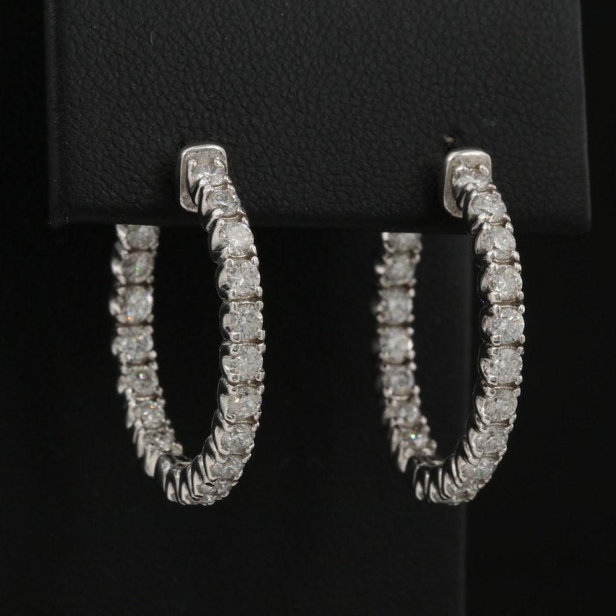 14K 1.71 CTW Diamond Inside-Out Hoop Earrings