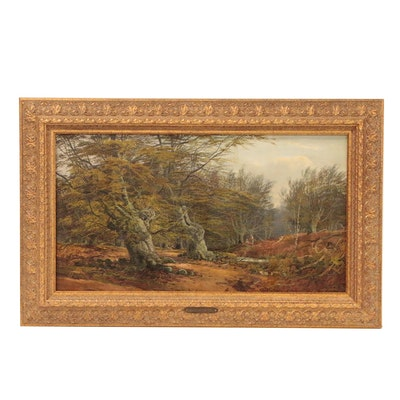 John Fulleylove Forest Landscape Oil Painting, 1878