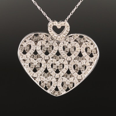 14K 1.87 CTW Diamond Openwork Heart Pendant Necklace with Heart Accent