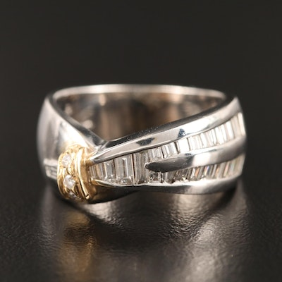 14K 1.02 CTW Diamond Band with Yellow Gold Accents