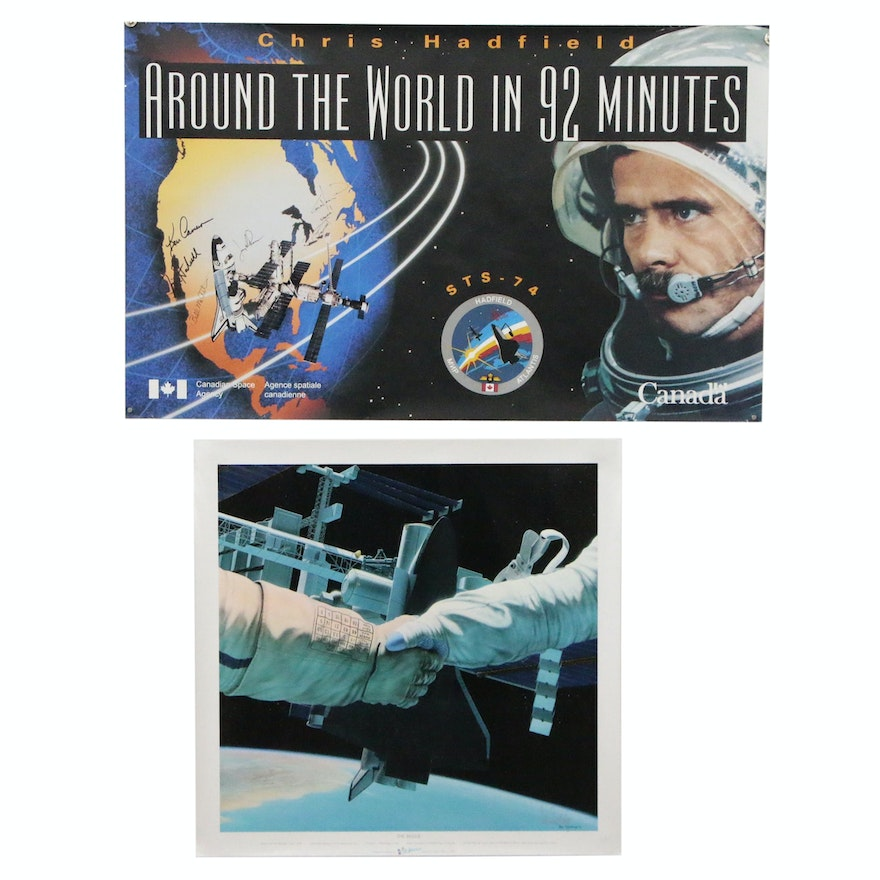 """Signed STS-74 Space Shuttle Poster with Artist Signed """"The Bridge"""" Poster"""