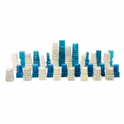 Meso-American Style Dyed Stone Chess Set Pieces