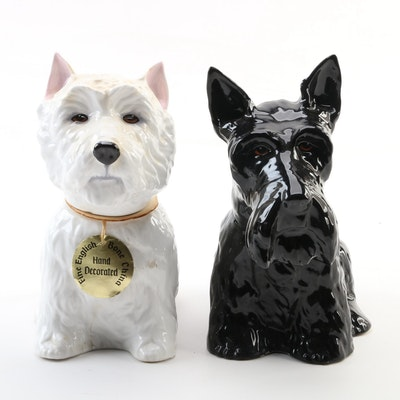 Fleischmann and Royal Adderley Bone China Dog Whiskey Decanters, 1970s