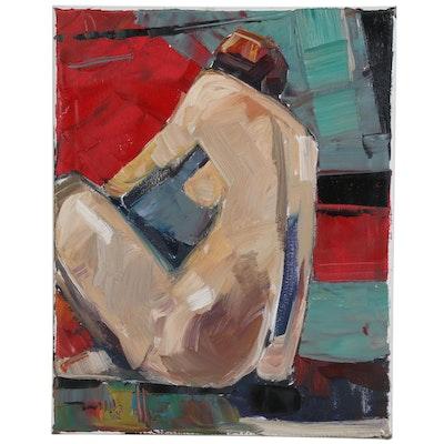 "Jose Trujillo Oil Painting ""The Nude Model"", 2019"