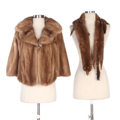 Mink Fur Capelet and Full Pelt Stole Including Brandenburg Furs, Vintage
