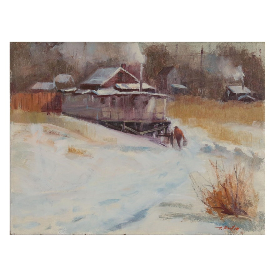 Harry Barton Oil Painting of Winter Landscape, Late 20th Century