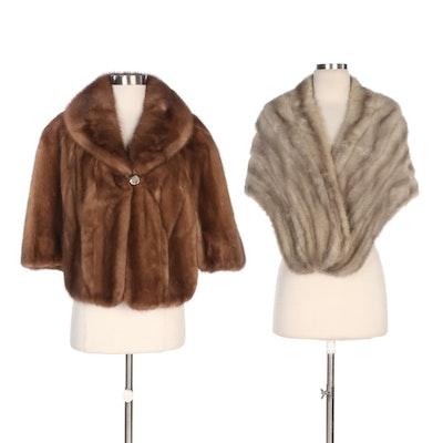 Gray Mink Fur Stole and Brown Mink Capelet from Brandenburg's and Billy Besen