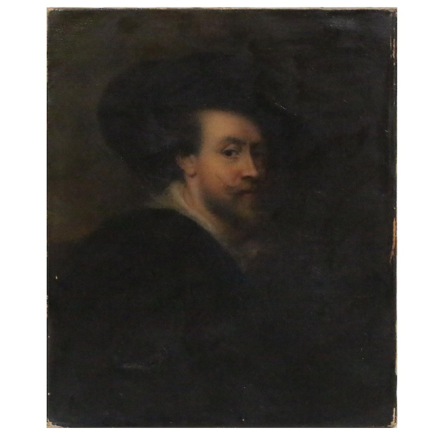 """Oil Painting after Peter Paul Rubens """"Self-Portrait"""", Late 19th Century"""
