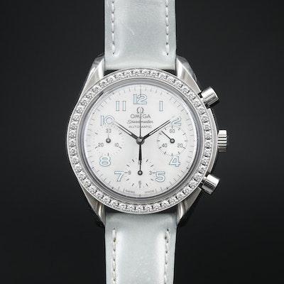 Omega Speedmaster Stainless Steel and 1.28 CTW Diamond Chronograph Wristwatch