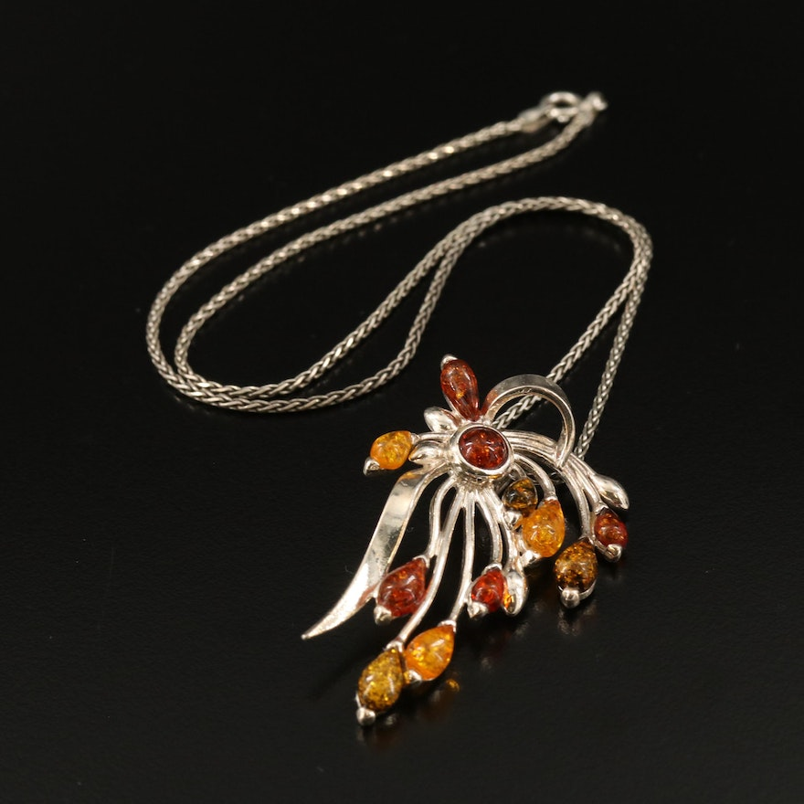 Sterling Silver Amber Pendant Necklace