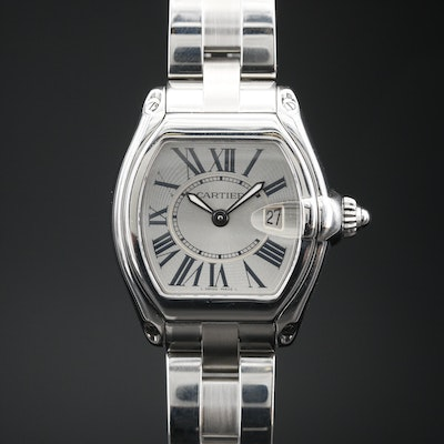 Cartier Roadster with Date Stainless Steel Quartz Wristwatch