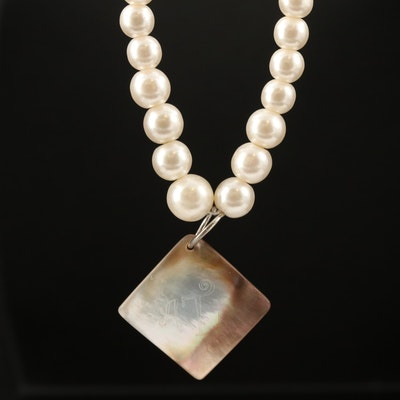 Napier Graduated Faux Pearl Necklace with  Mother of Pearl Pendant