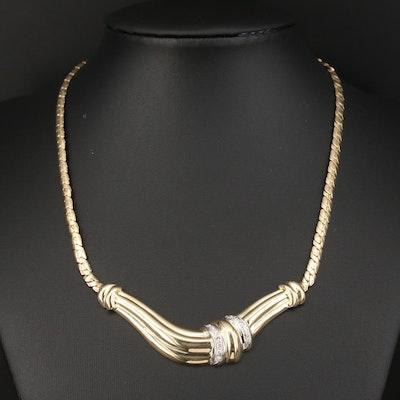 14K Diamond Stationary Pendant Choker Necklace