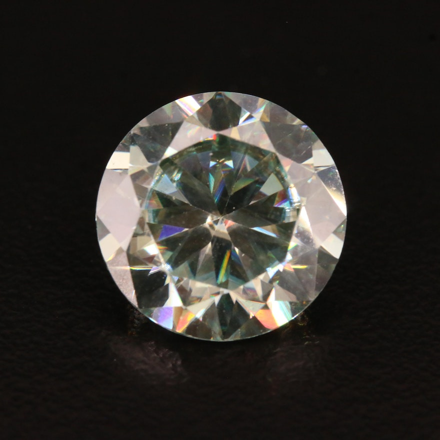 Loose 6.93 CT Round Faceted Moissanite