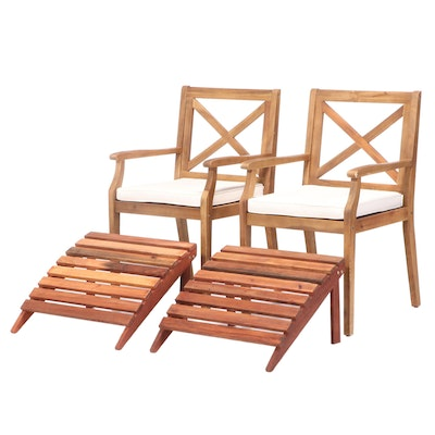 Contemporary Teak Patio Arm Chairs with Ottomans