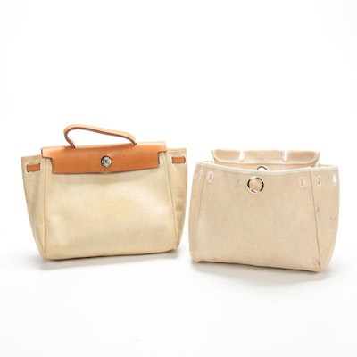 Hermès Herbag 2-in-1 Backpack Bag and Tote in Natural Toile and Vache Leather