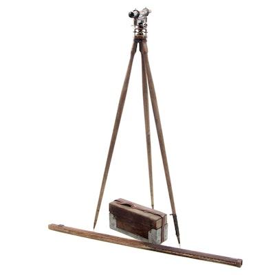 T.F. Randolph Brass Surveyor's Scope with Tripod and Measuring Stick