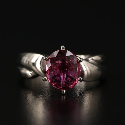 14K White Gold 1.38 CT Ruby Solitaire Ring