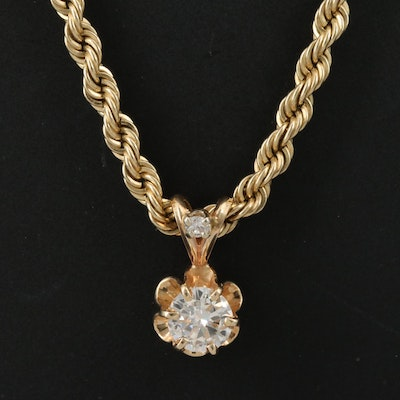 14K Diamond Necklace with Buttercup Setting