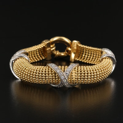 "18K Two-Tone Mesh Bracelet with ""X"" Accents"