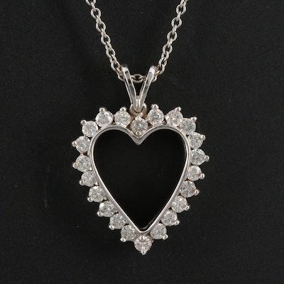 14K Diamond Halo Heart Pendant Necklace