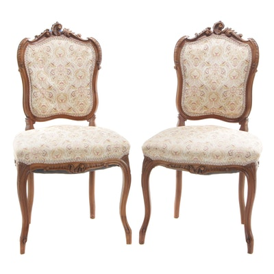 Rococo Revival Style Walnut Side Chairs, Early 20th Century