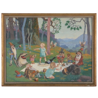 Benjamin Sayre Cory Kilvert Whimsical Oil Painting, Early to Mid 20th Century