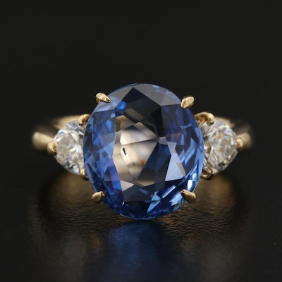 18K 6.68 CT Unheated Sri Lankan Sapphire and Diamond Ring with GIA Report