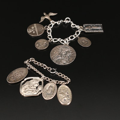 Religious Charm Bracelets Including Sterling Silver
