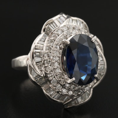 Platinum 6.03 CT Sapphire and 2.06 CTW Diamond Ballerina Ring with GIA Report