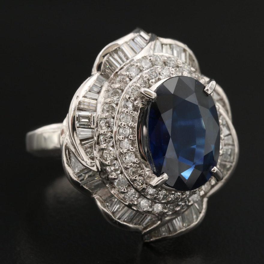 Platinum 6.03 CT Sapphire and 2.06 CTW Diamond Ballerina Ring with GIA Report